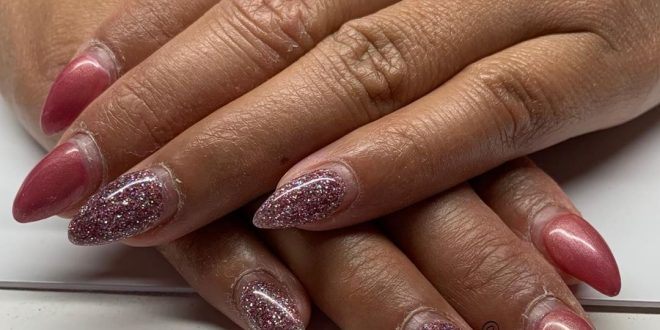 foil Frosted pink Moyra stamp  Before and after (3 weeks)
