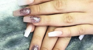 Elegent nails with baby boom and glitter