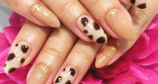 Animal looking nails. Full color, cow pattern and gold bling. Choose your own design.