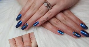 Here is a design with Gel Polish Jet and Sapphire Chrome Pigment with Hocus Poc