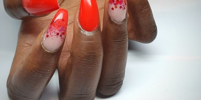 Neon red with some lovely glitter fit well in the dark for booking Call or sms
