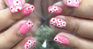 Painted gel paint, cute floral design , Gelfarbe from 200 ฿ PVC nail extension 200 ฿ , To cut