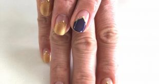 Stylish nails with own design at Salon Nakayama. Here with French special in blue