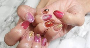 Nuance autumn nail Nice wire on gold leaf