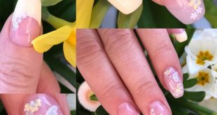 Delicate pastel yellow French nails with flowers