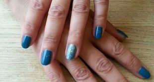 Classic manicure with blue / silver glitter lacquer    | Brand name advertising