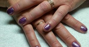 Classic manicure with purple / glitter    | Brand Name Advertising