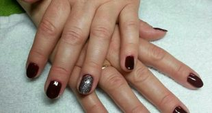 Classic manicure with red / silver glitter lacquer      Brand name advertising