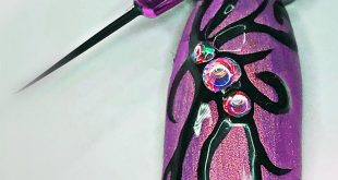 Shimmering purple with black painting