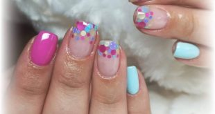 Confetti Nails, perfect for spring, the pop art fuchsia and that was used