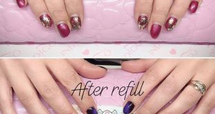 Gel nails shortened and refilled after 5 weeks  Purple CAT EYE effect from Makea
