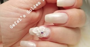 3D nail art with plasteline, a beautiful bride nail design