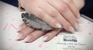 Beautiful oval shaped gel extensions with elegant baby boomer (the white tip omb