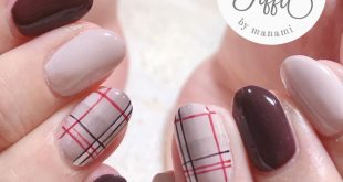 . Customer nail An autumn nail with a color like Bordeaux like brown Check each one is cute Thank you very much . .