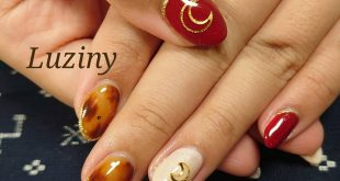 Autumn nail Tortoiseshell art and moon parts