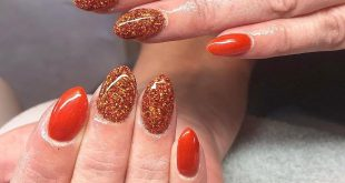 Gel reinforcement on natural nails with tangerine & glitter / see 4v outgrowth last b