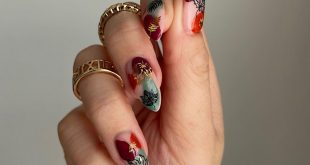 All autumn vibes  Simple and effective nail art using gold leaf and black leaf